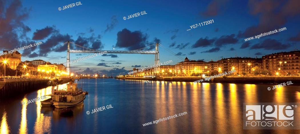 Stock Photo: Suspension Bridge in Portugalete, Bizkaia, Basque Country, Spain.