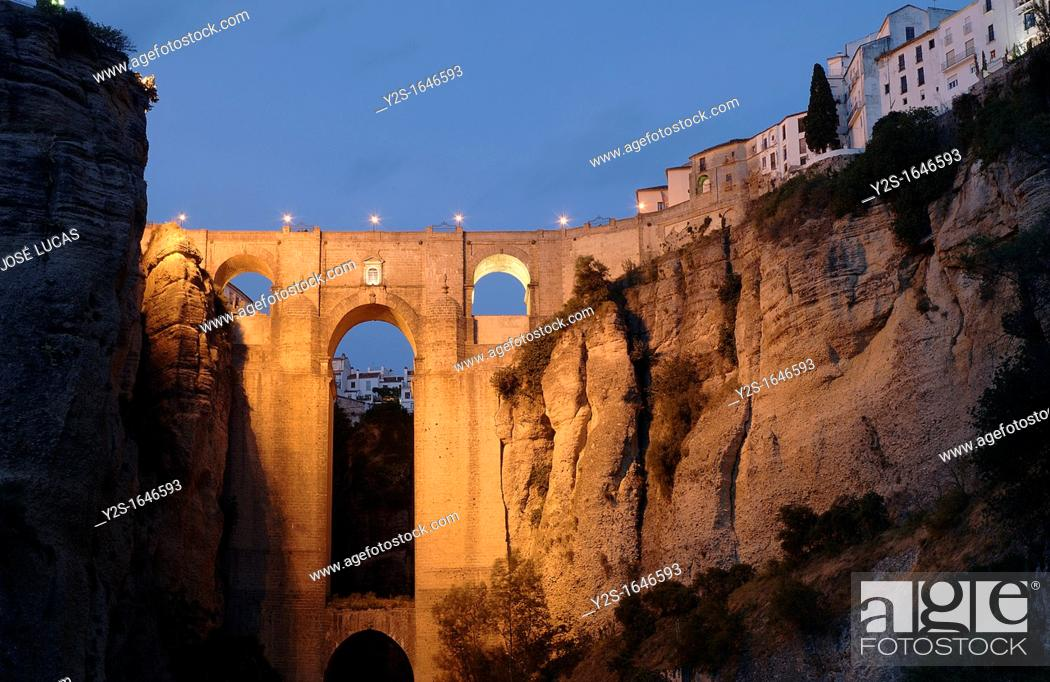 Stock Photo: 'Tajo' y Puente Nuevo, Gorge and New Bridge, Ronda, Malaga-province, Region of Andalusia, Spain, Europe,.