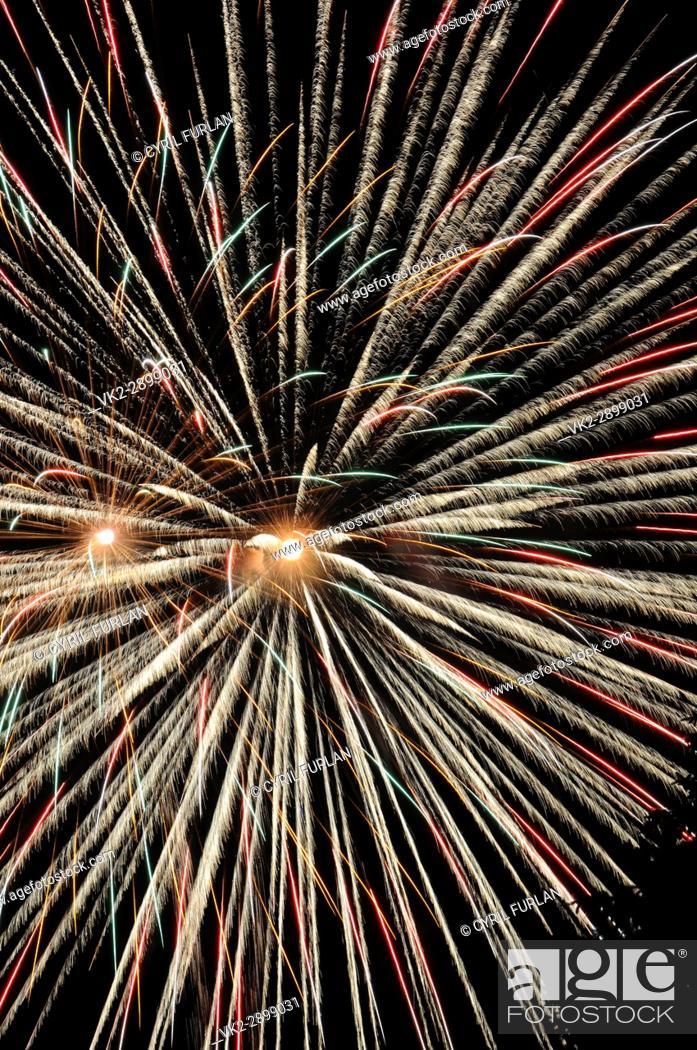 Stock Photo: Twin Burst Grayling Michigan Fourth of July.