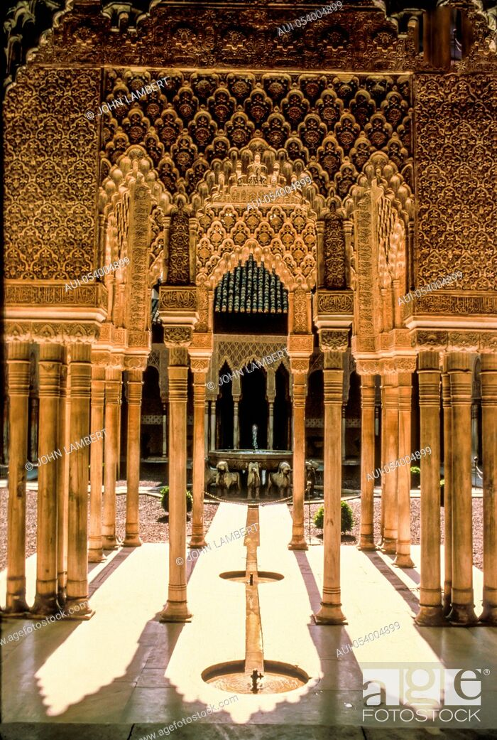 Stock Photo: spain - andalusia - granada, a courtyard in the alhambra.