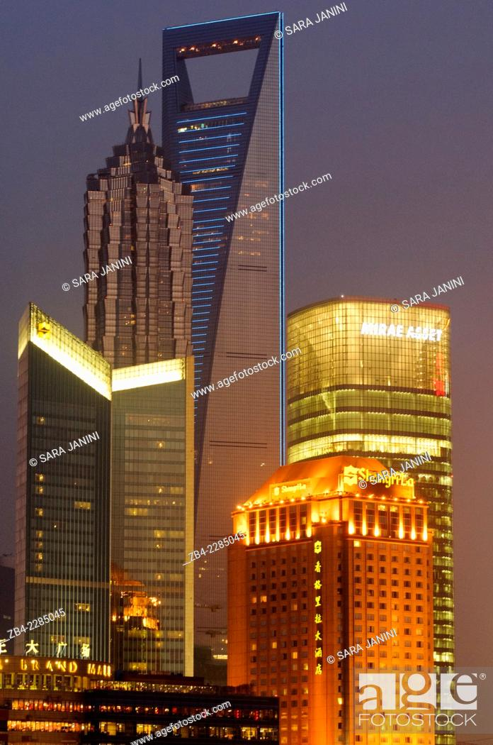 Stock Photo: View of Pudong Business District Skyline (behind 'World Financial Center' and 'Jin Mao Tower') from the 'Bund' or 'Wai Tan', Shanghai, China, Asia.
