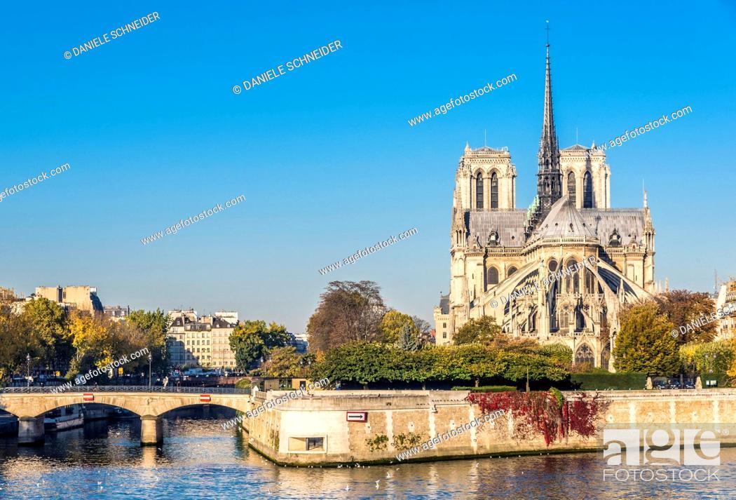 Stock Photo: France, Paris, 4th arrondissement, l'Archevˆche bridge on the Seine river and Notre-Dame of Paris at L'Œle de la Cite.