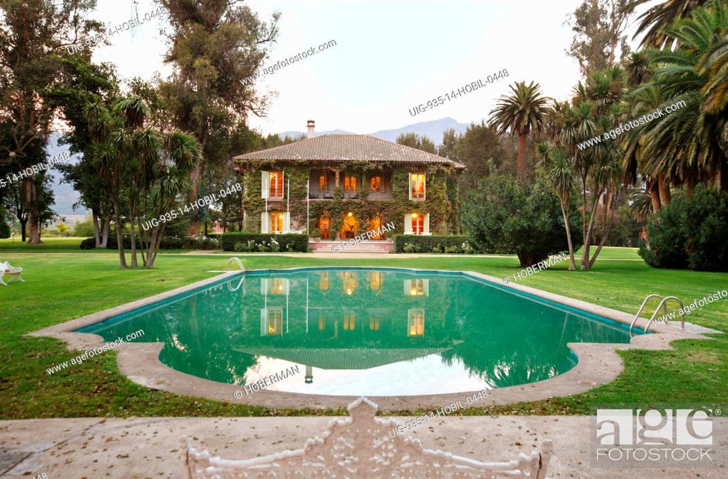 Stock Photo: Tarapaca Vineyards Manor House, Chile.