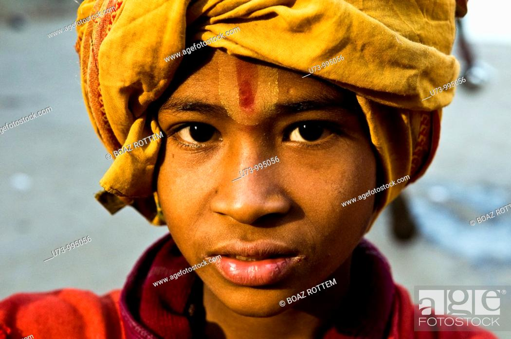 Stock Photo: Portrait of a young Sadhu.