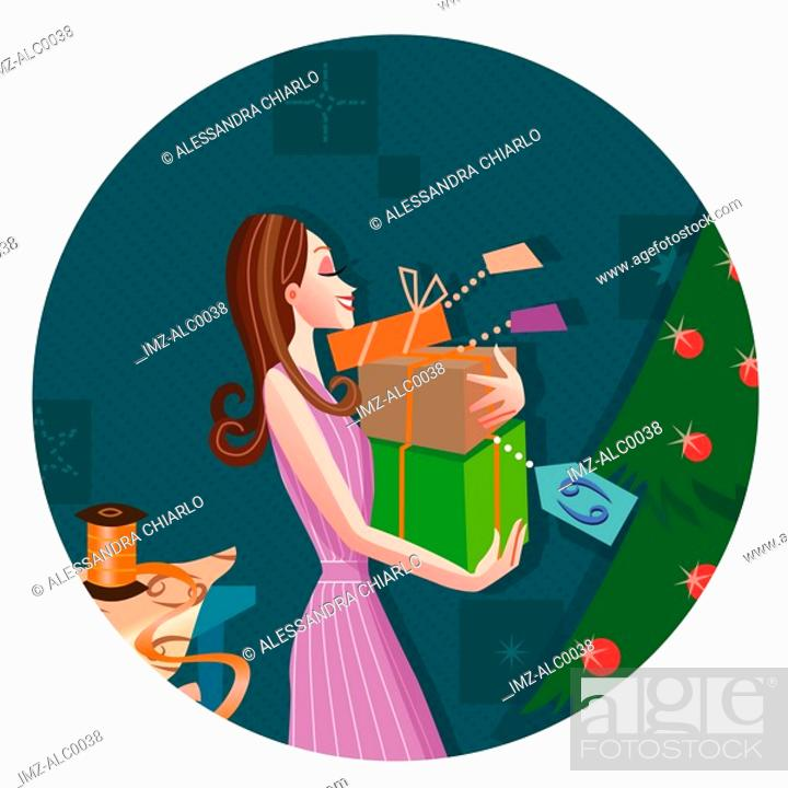 Stock Photo: A Cancer woman holding a stack of newly wrapped presents by a Christmas tree.