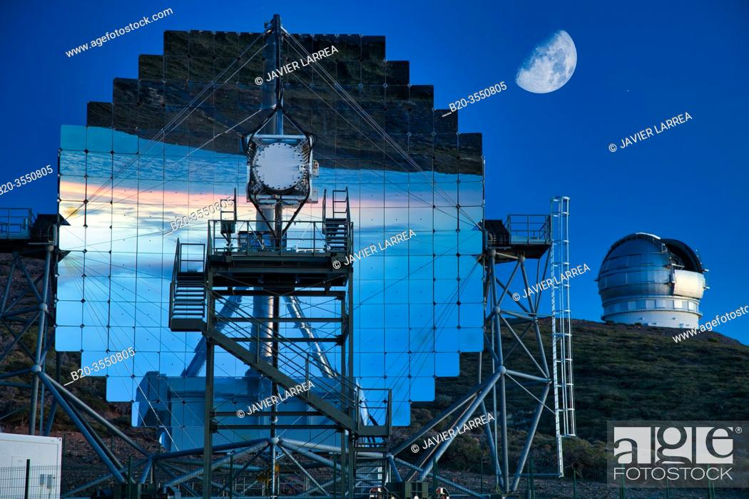Stock Photo: The Magic Telescopes, Roque de los Muchachos Observatory, La Palma, Canary Islands, Spain...The cosmos and its evolution are studied using all radiation.