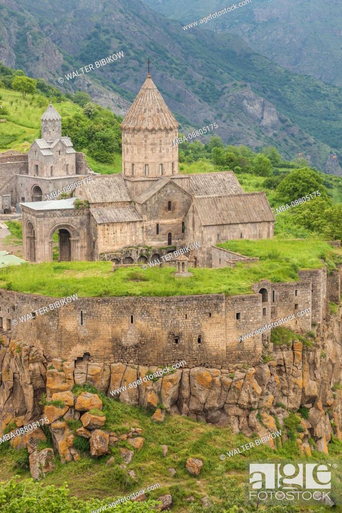 Stock Photo: Armenia, Tatev, Tatev Monastery, 9th century, high angle view.