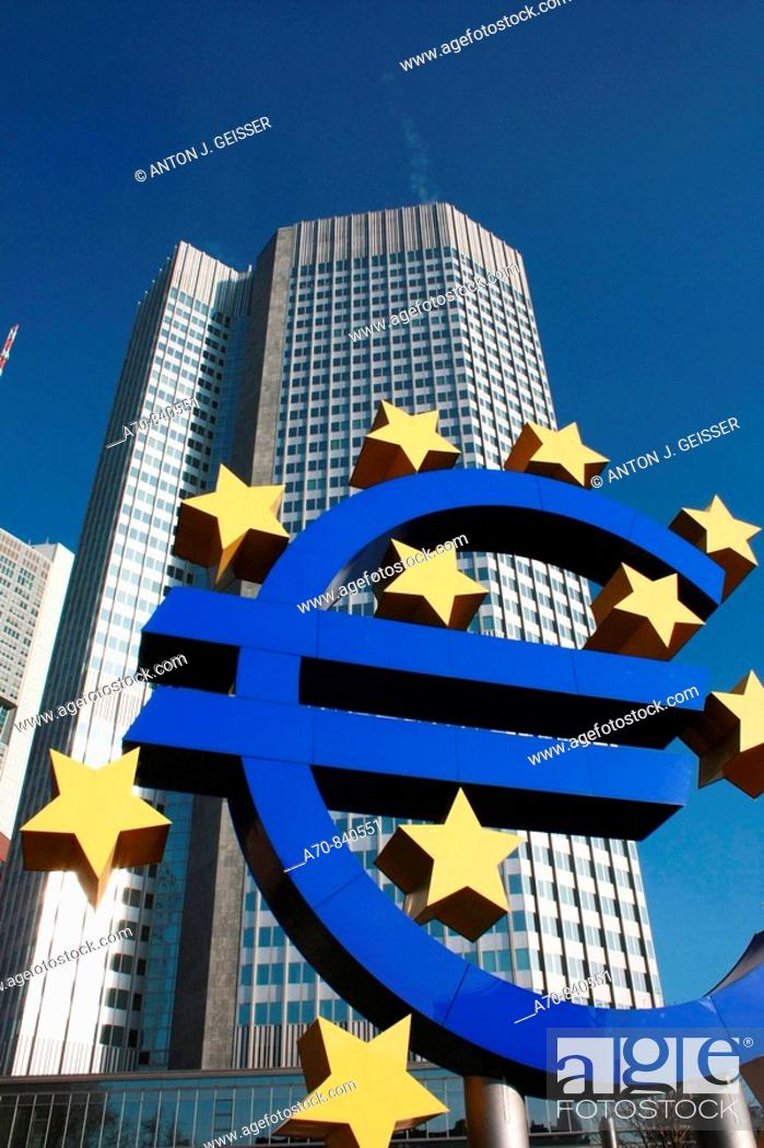 Stock Photo: Euros culpture in front of the European Central Bank. Frankfurt am Main, Germany.