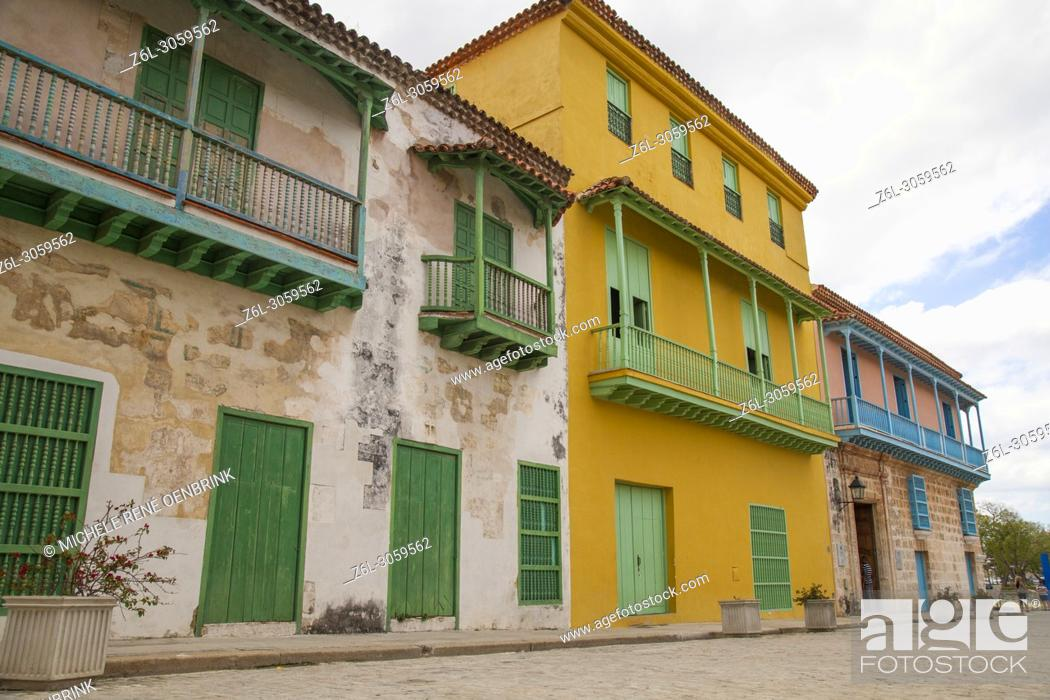 Stock Photo: Local colorful streets and building architecture in Old Havana Cuba.