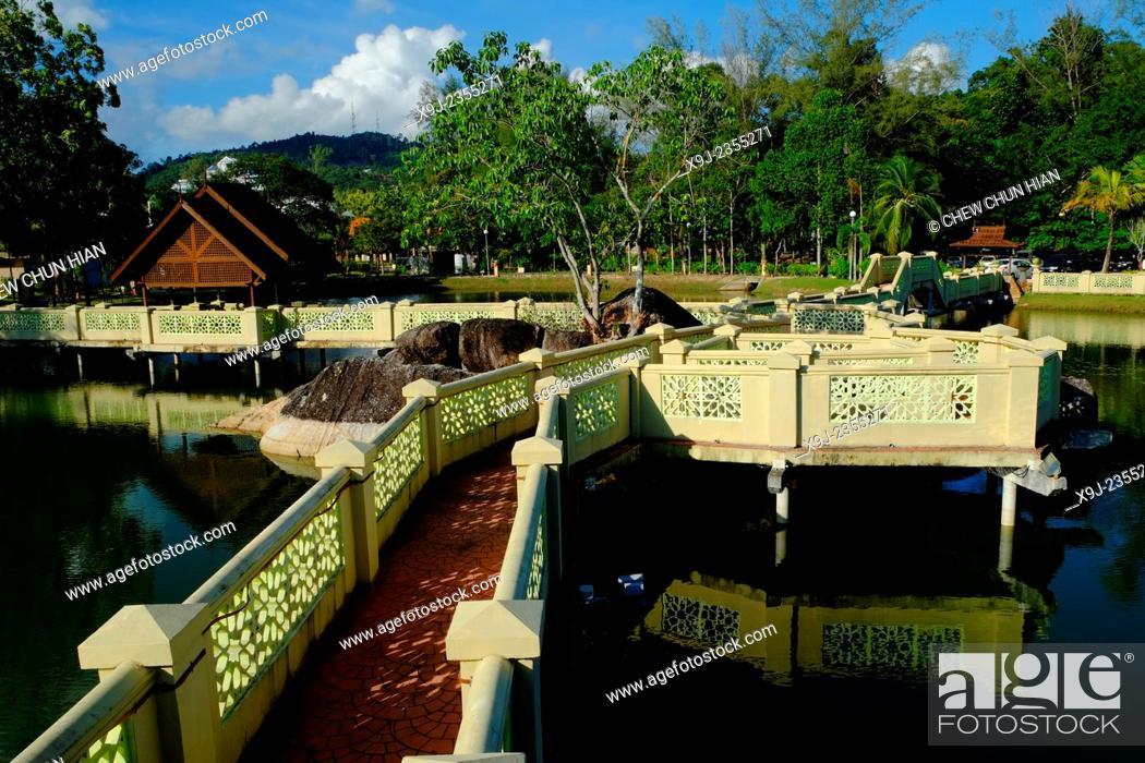 Stock Photo: Lake Park, Dataran Lang (Eagle Square), Kuah, Langkawi, Malaysia.