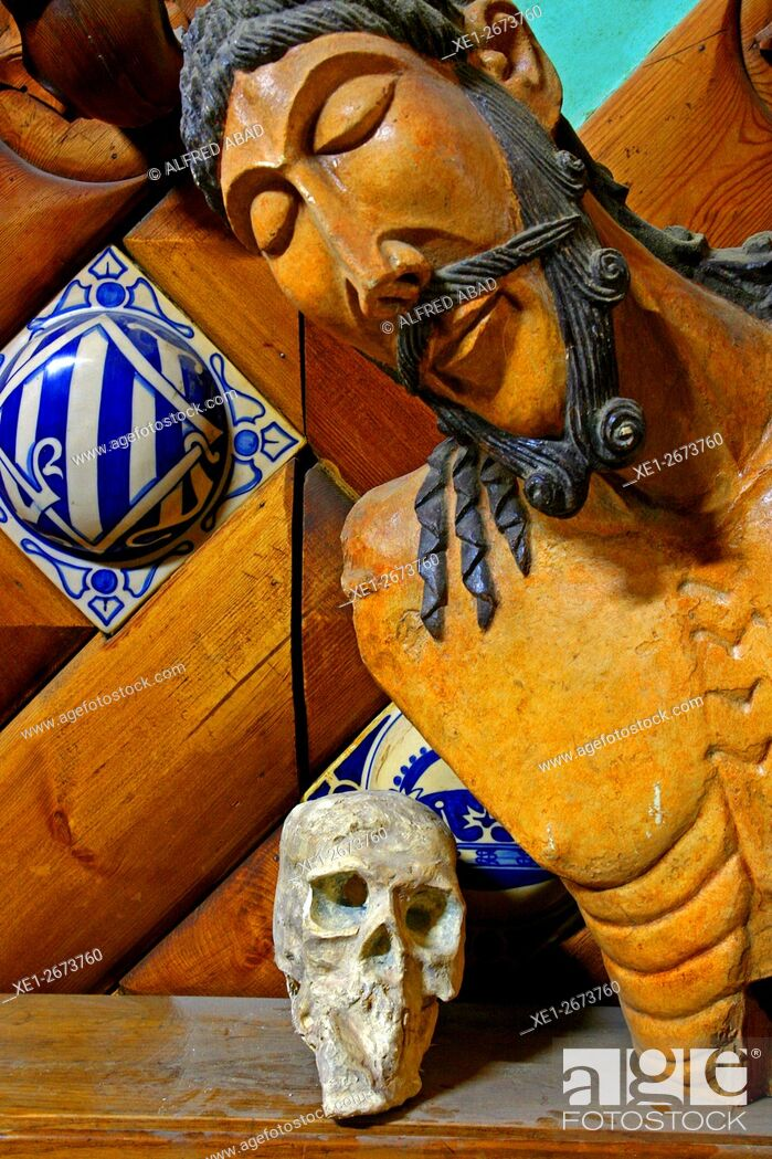 Stock Photo: Religious image and skull, rehabilitation workshop, Barcelona, Catalonia, Spain.