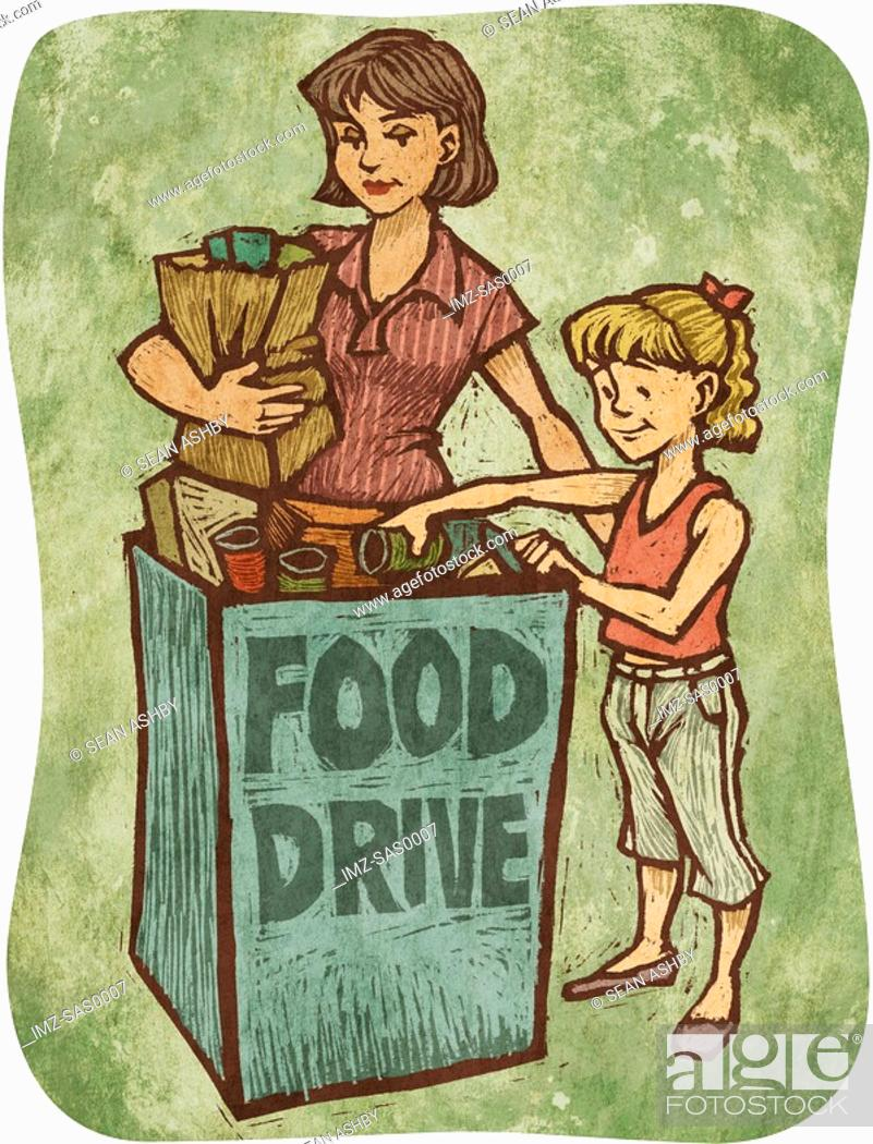 Stock Photo: A mother and daughter bringing donations to a food drive.