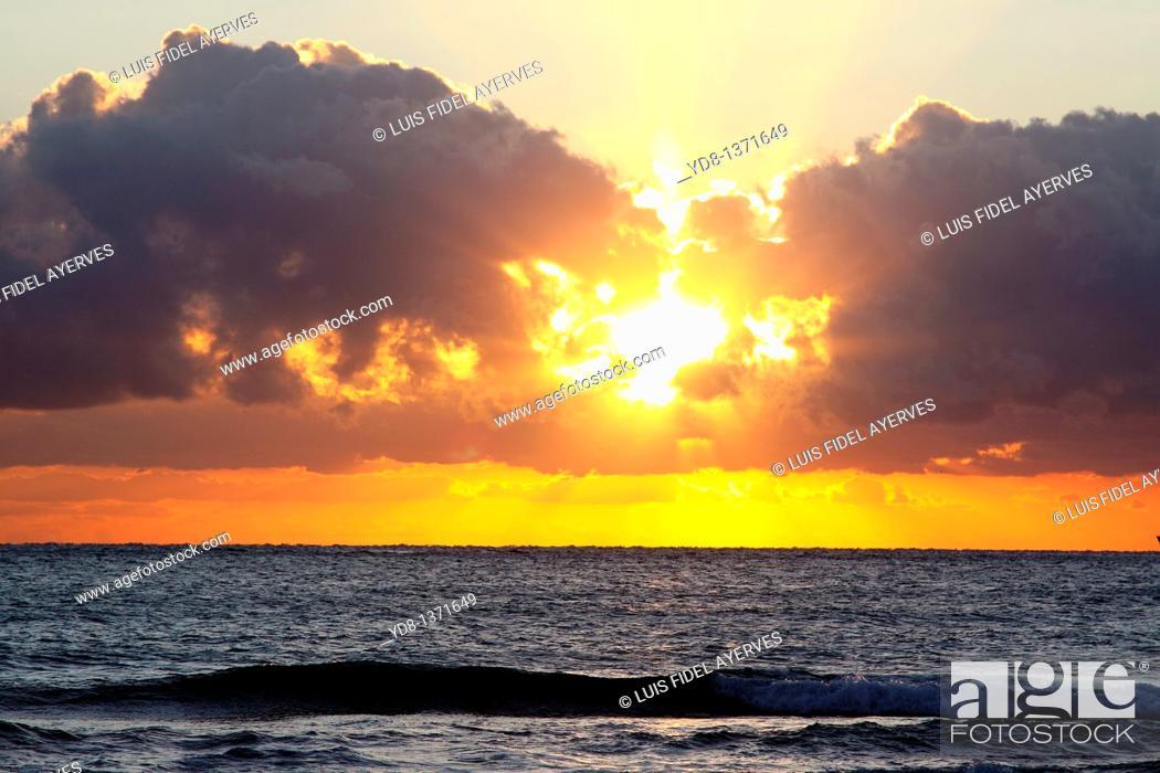 Stock Photo: Sunrise in Miami Beach, Florida.
