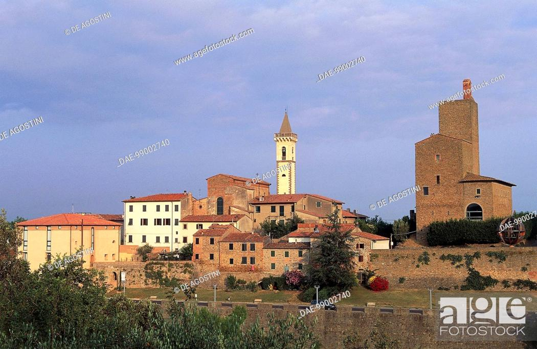 Stock Photo: View of Vinci with the Church of St Croce and Guidi castle in the background, Tuscany, Italy.