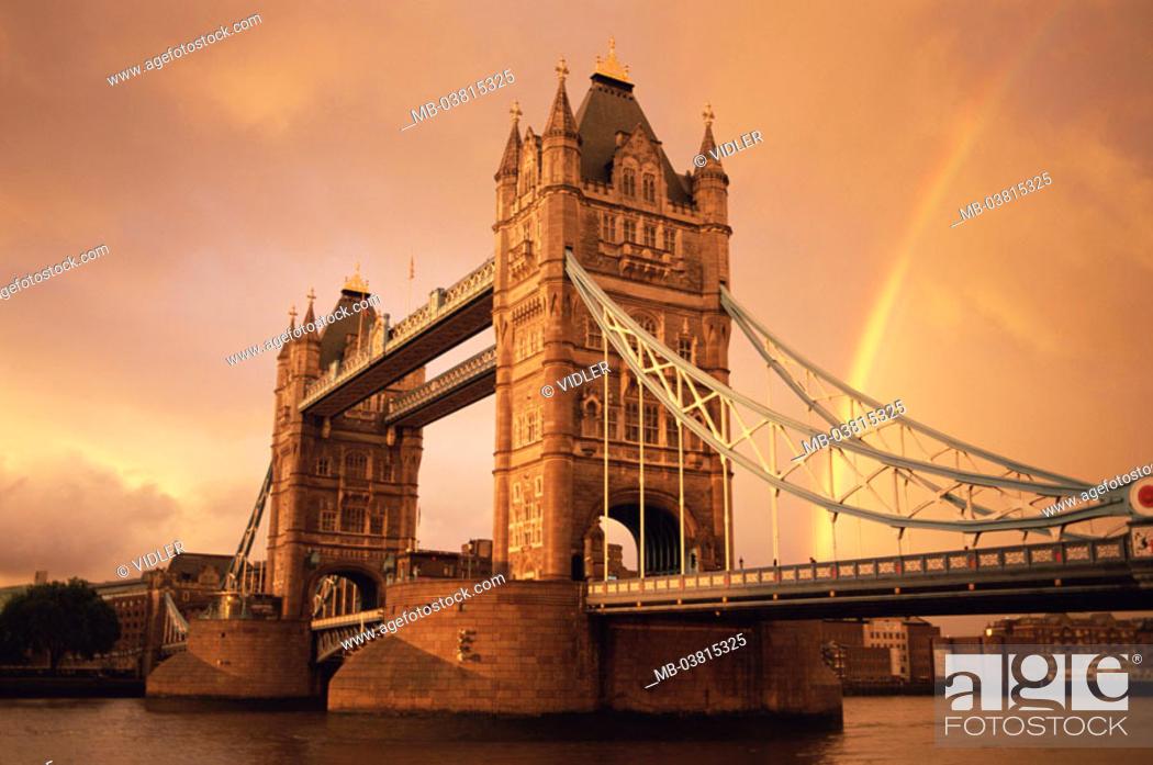 Stock Photo: Great Britain, England, London,  Thames, tower bridge, rainbow, Dusk,  Series, capital, construction, bridge, drawbridge, historically.