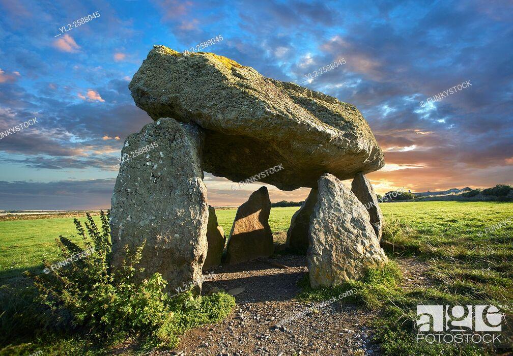 Stock Photo: Carreg Samson or Samsonâ. . s Stone, a 5000 year old Neolithic dolmen burial chamber, near Abercastle, Pembroke, Wales.