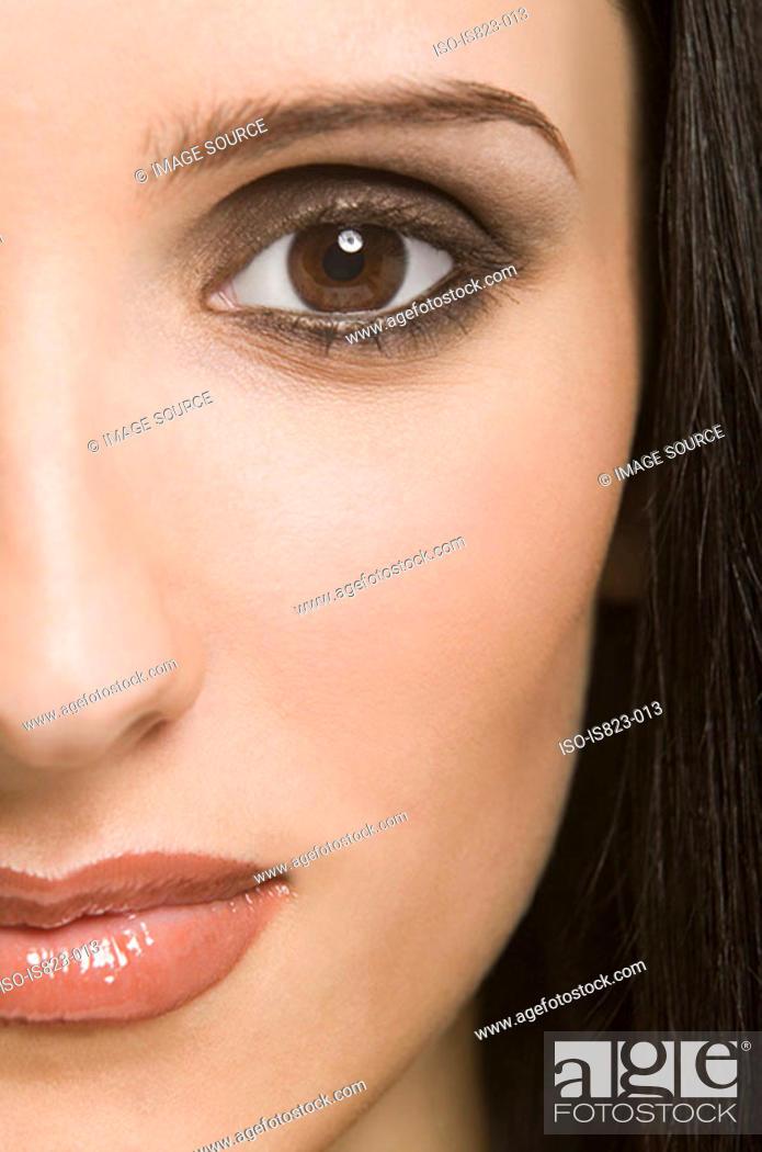 Stock Photo: Portrait of a woman wearing eyeshadow.