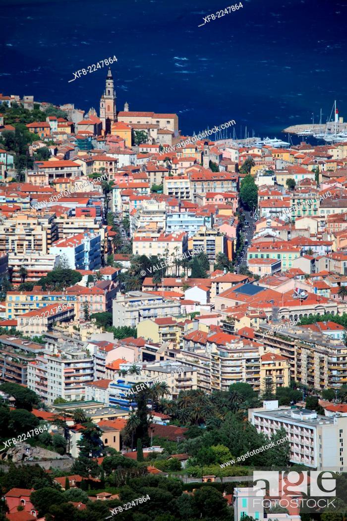 Stock Photo: Top view above the city of Menton, Alpes-Maritimes, Provence-Alpes-Côte d'Azur, France.