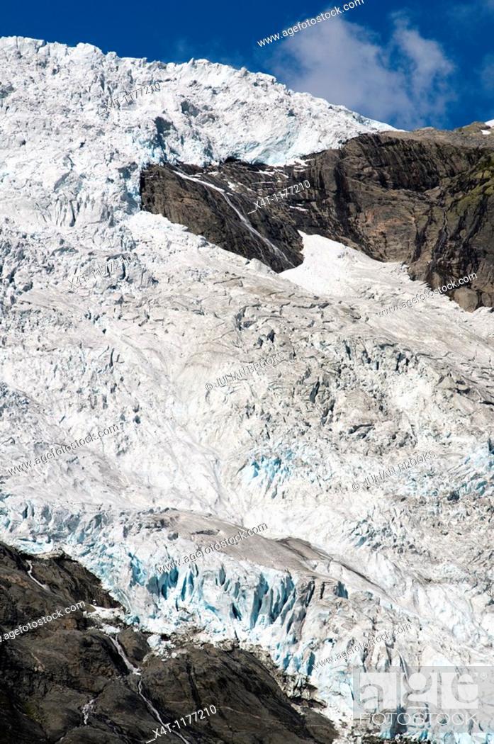 Stock Photo: Jostedalsbreen Glacier from Briksdal, Jostedal Glacier National Park, Western Norway.