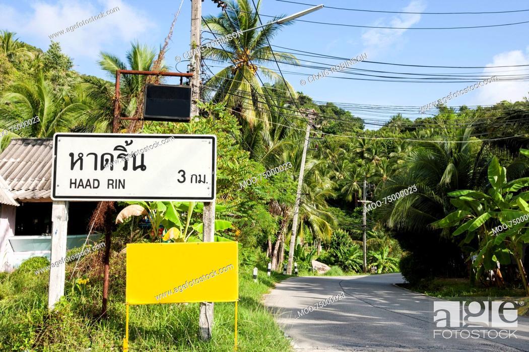 Stock Photo: Signpost to Haad Rin, Koh Pha Ngan, Thailand.
