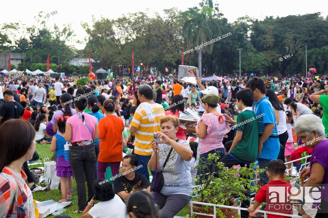 People Celebrating Christmas At Luneta Manila Philippines Stock