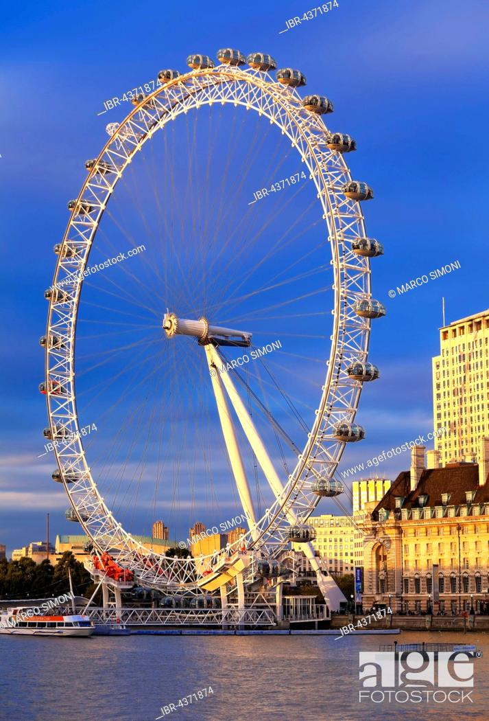 Stock Photo: Millennium Wheel, London Eye, River Thames in the foreground, London, England, United Kingdom.