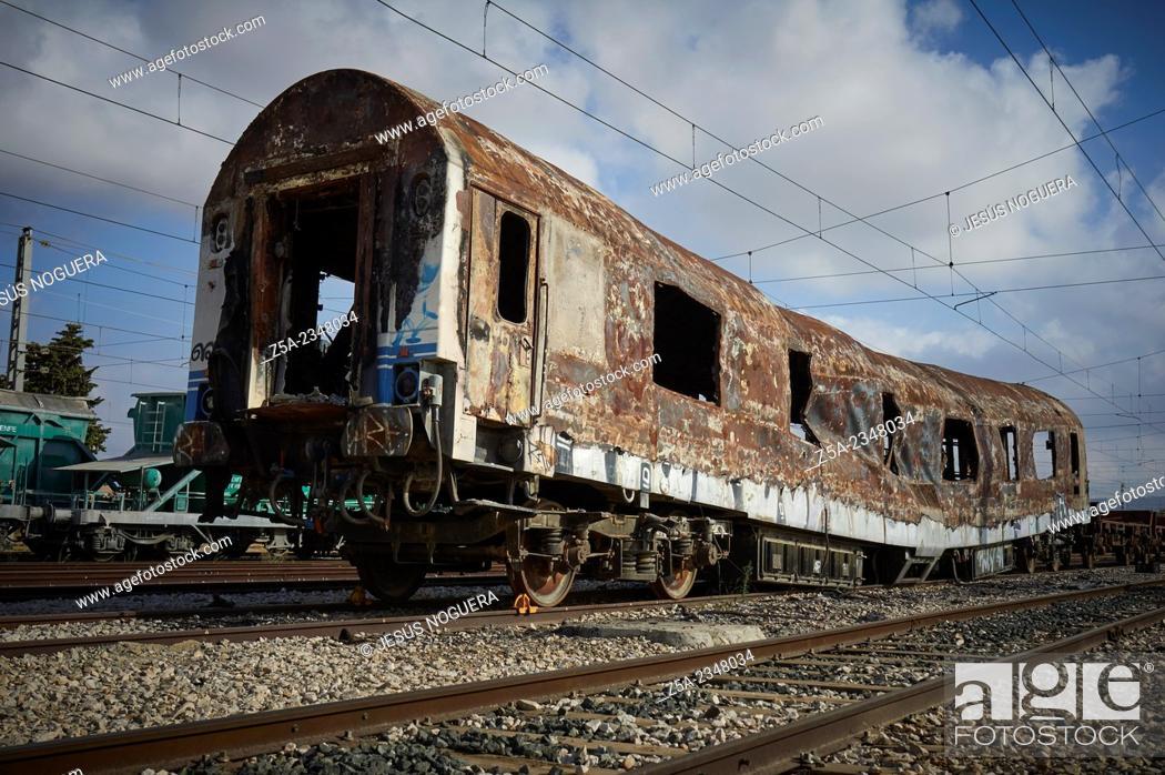 Stock Photo: Abandoned train car.