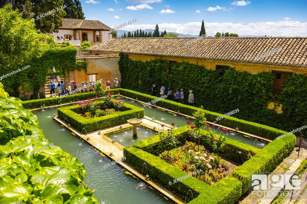 Stock Photo: Generalife Palace gardens. Alhambra, UNESCO World Heritage Site. Granada City. Andalusia, Southern Spain Europe.