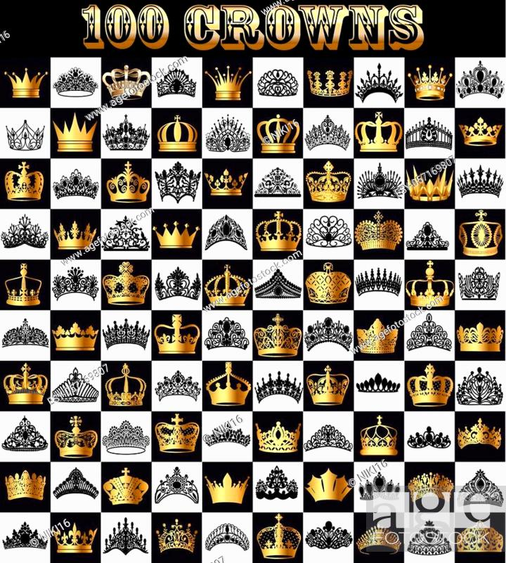 Stock Vector: Illustration of a set of gold and black crowns, tiara on a chessboard.