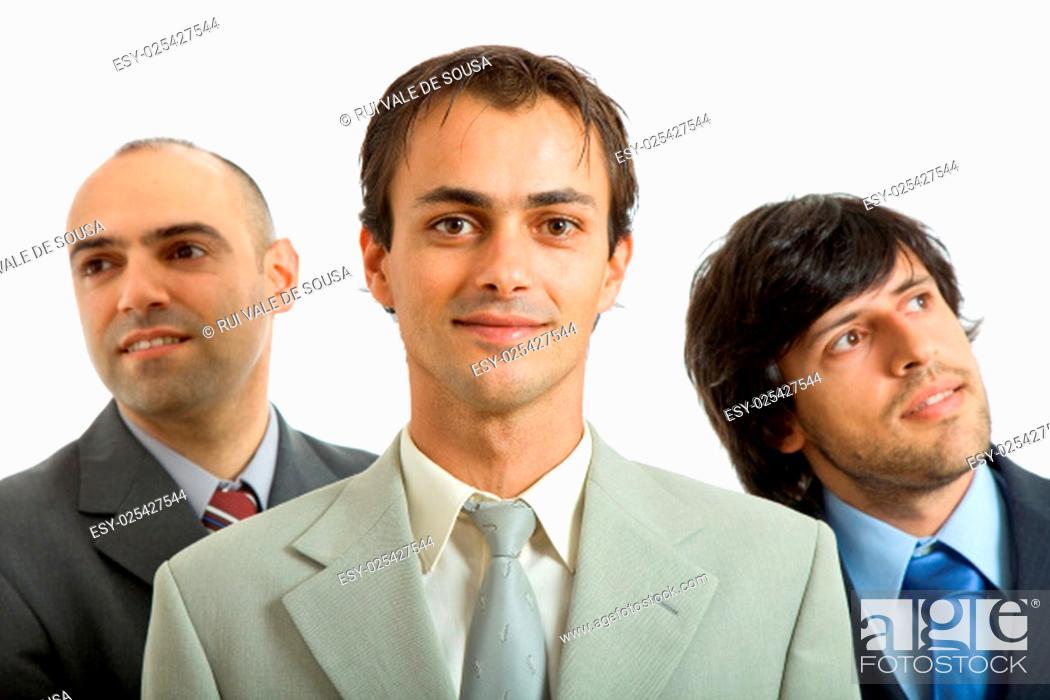 Stock Photo: three business men isolated on white background.