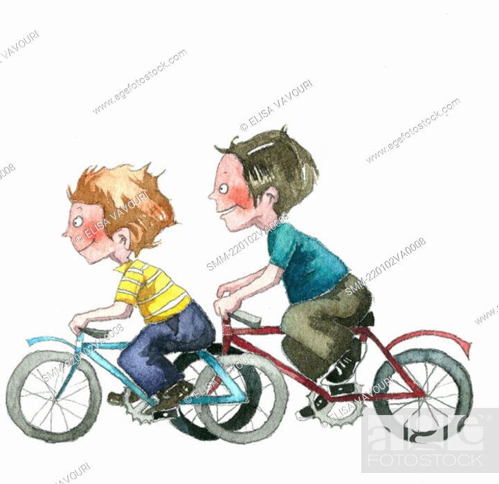 Stock Photo: Two boys speeding on bicycles.