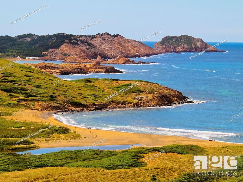 Stock Photo: Platja de Binimella - Binimella Beach on Menorca, Balearic Islands, Spain.