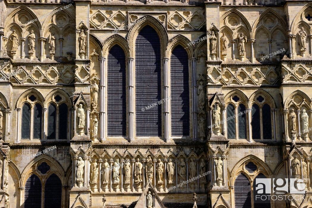 Stock Photo: Closeup detail West Front Salisbury Cathedral Wiltshire.