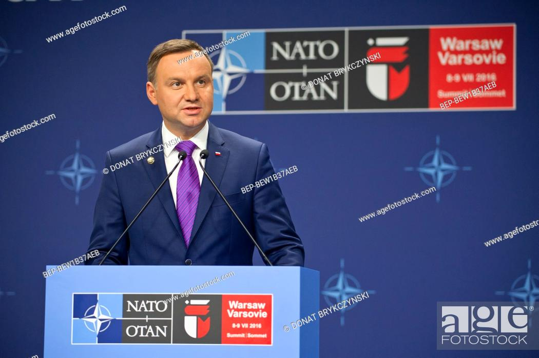 Stock Photo: President's Andrzej Duda press conference at the end of The Warsaw NATO summit, National Stadium, Warsaw on July 9th, 2016.