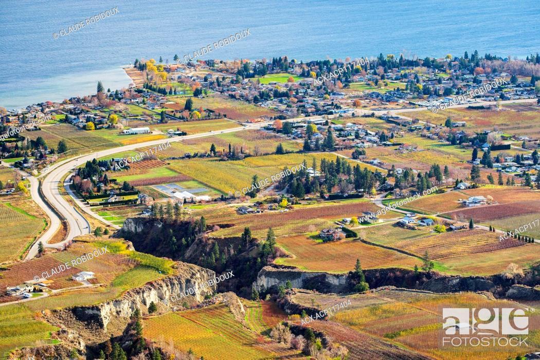 Stock Photo: Colourfull orchards and vineyards in the fall along Okanagan Lake in Summerland, Okanagan Valley of British Columbia, Canada.