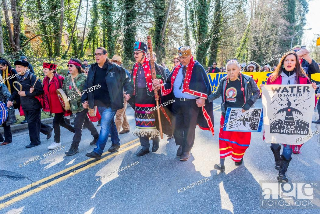 Stock Photo: Indigenous Chiefs and elders lead Anti Kinder Morgan Pipeline March, Protect the Inlet, Kwekwecnewtxw, Burnaby BC, Canada.