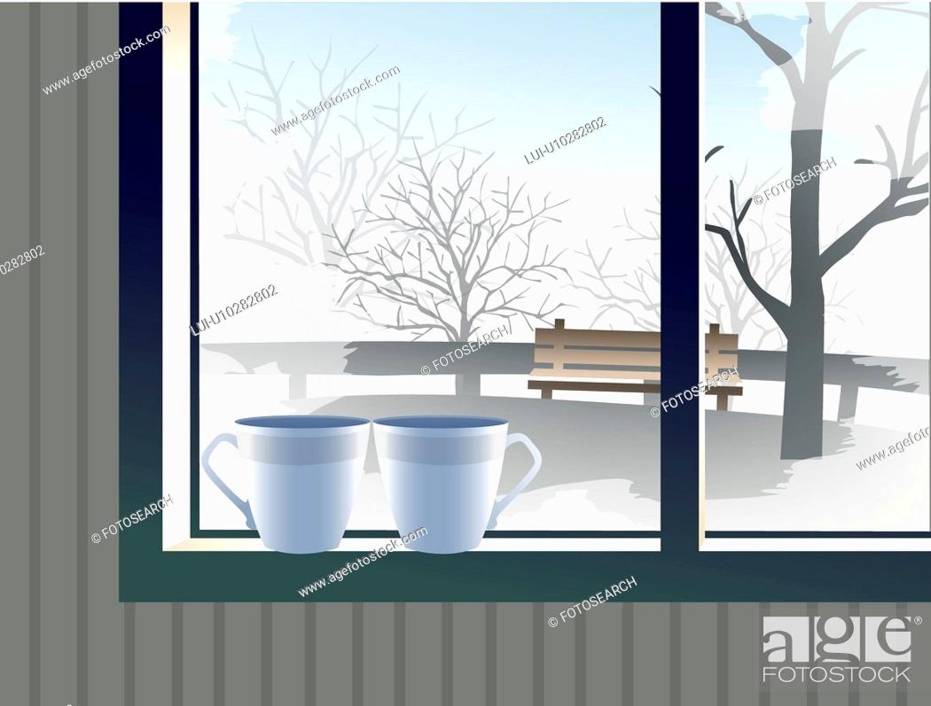 Stock Photo: landscape, season, snow, scene, background, scenery, winter.