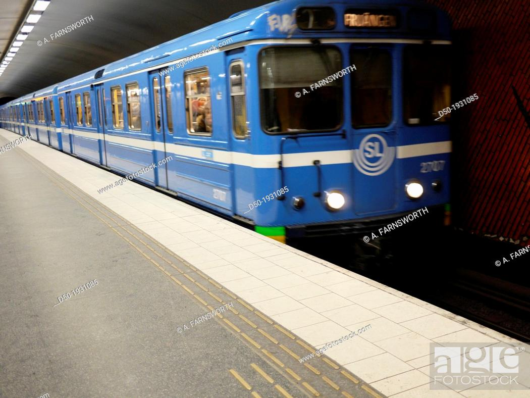 Stock Photo: STOCKHOLM SWEDEN Stockholm subway at the Hornstull station.