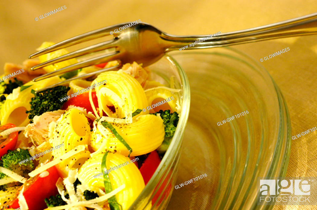 Stock Photo: Close-up of a bowl of pasta.