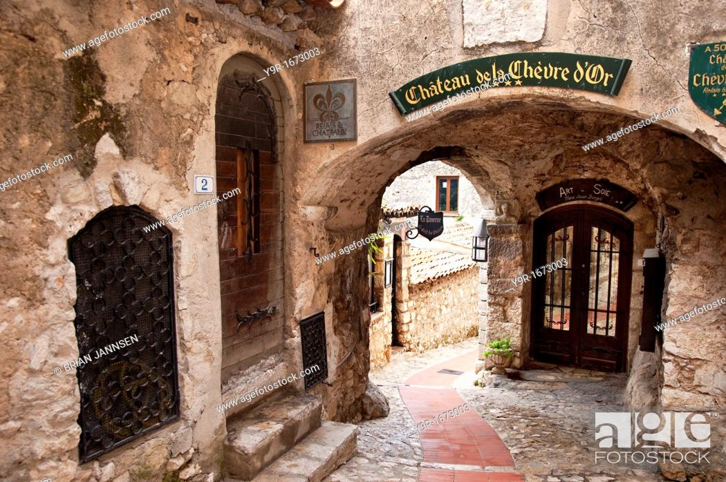Stock Photo: Entryway to homes and shops in ancient town of Eze, Provence France.