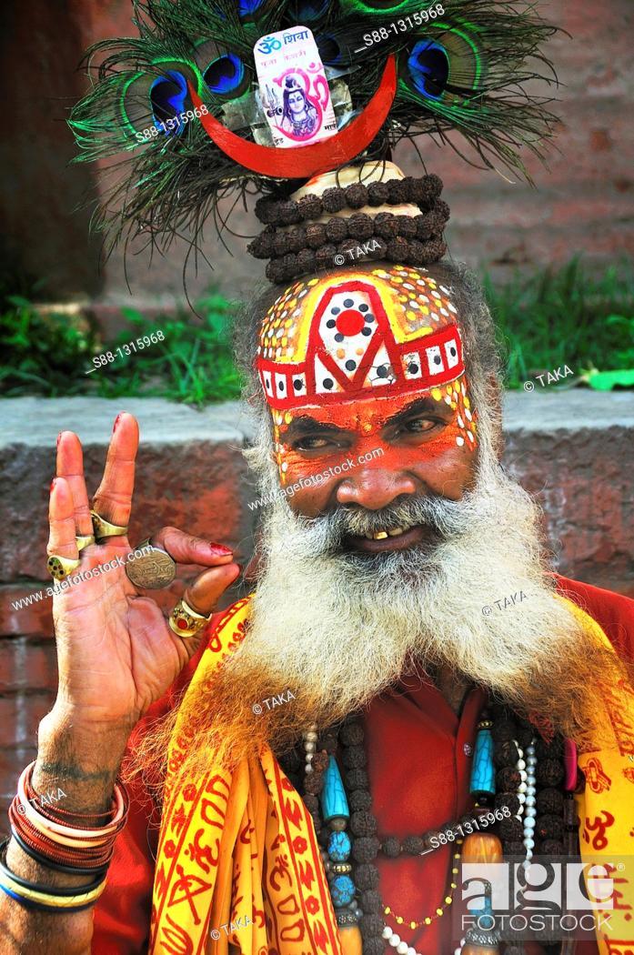 Stock Photo: Sadhu professionally posing to the camera all day long at Durbar Square.