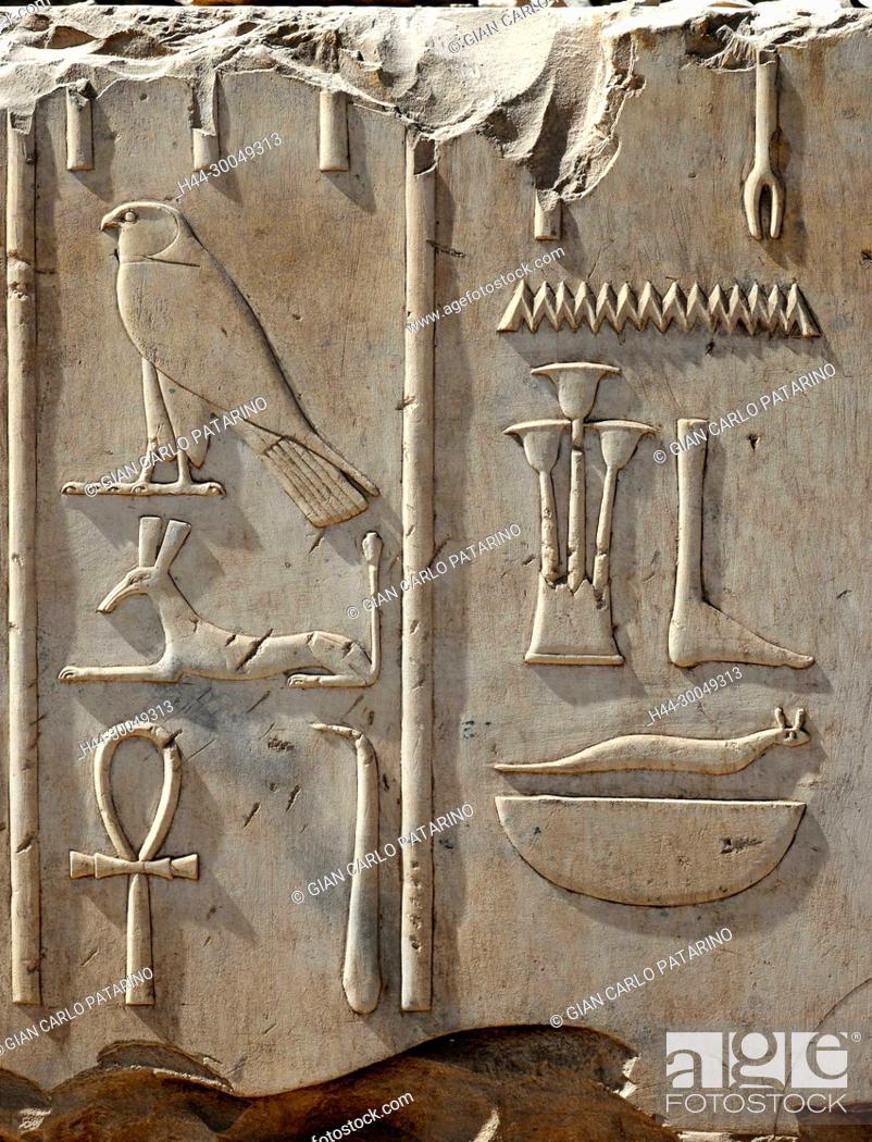 Stock Photo: Karnak, Luxor, Egypt. Temple of Karnak sacred to god Amon: beautiful hieroglyphs of Sesostris I.