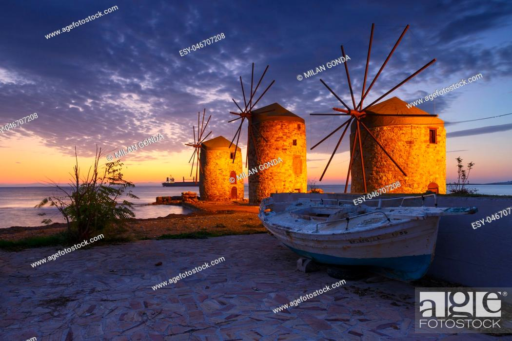 Stock Photo: Blue hour image of the iconic windmills in Chios town. .