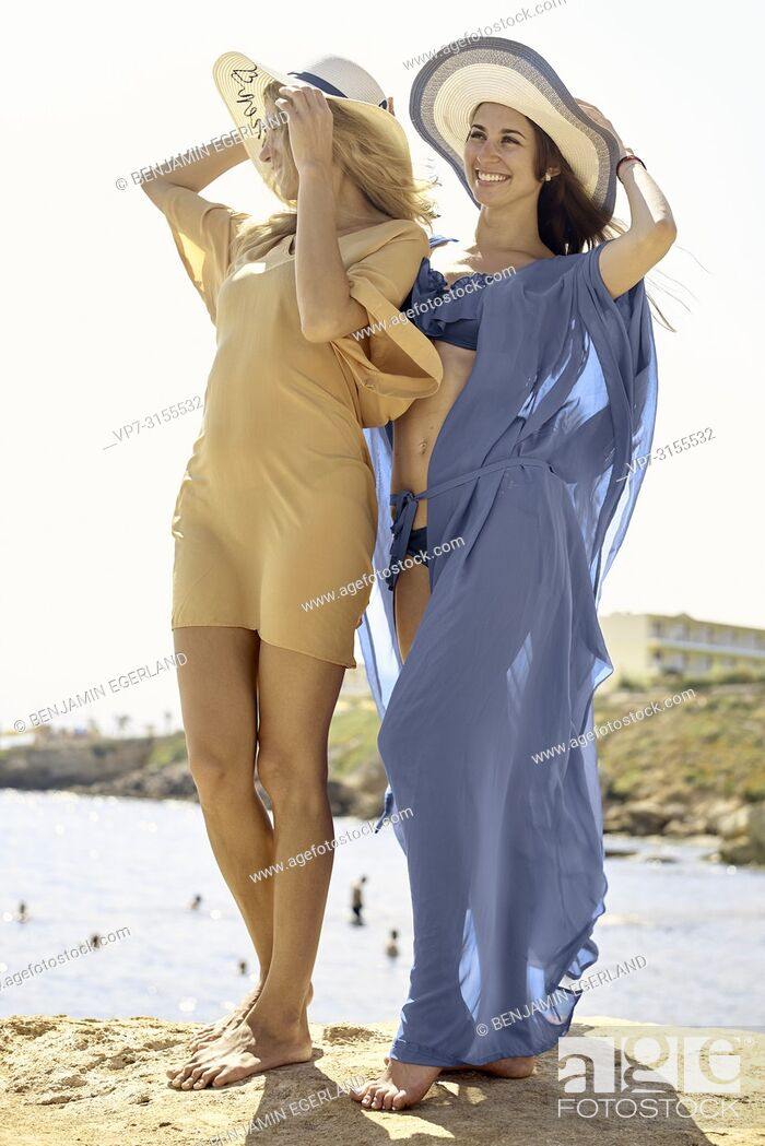 Stock Photo: Two women by the sea, Crete, Greece.