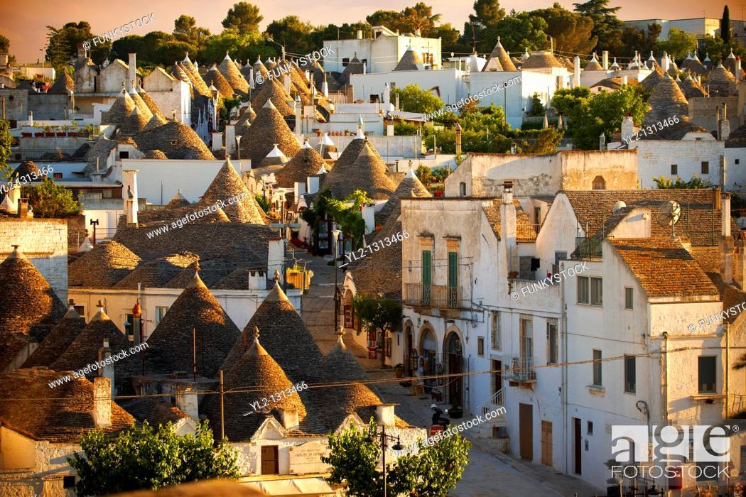 Stock Photo: Trulli houses of the Rione Monti Area of Alberobello, Puglia, Italy.