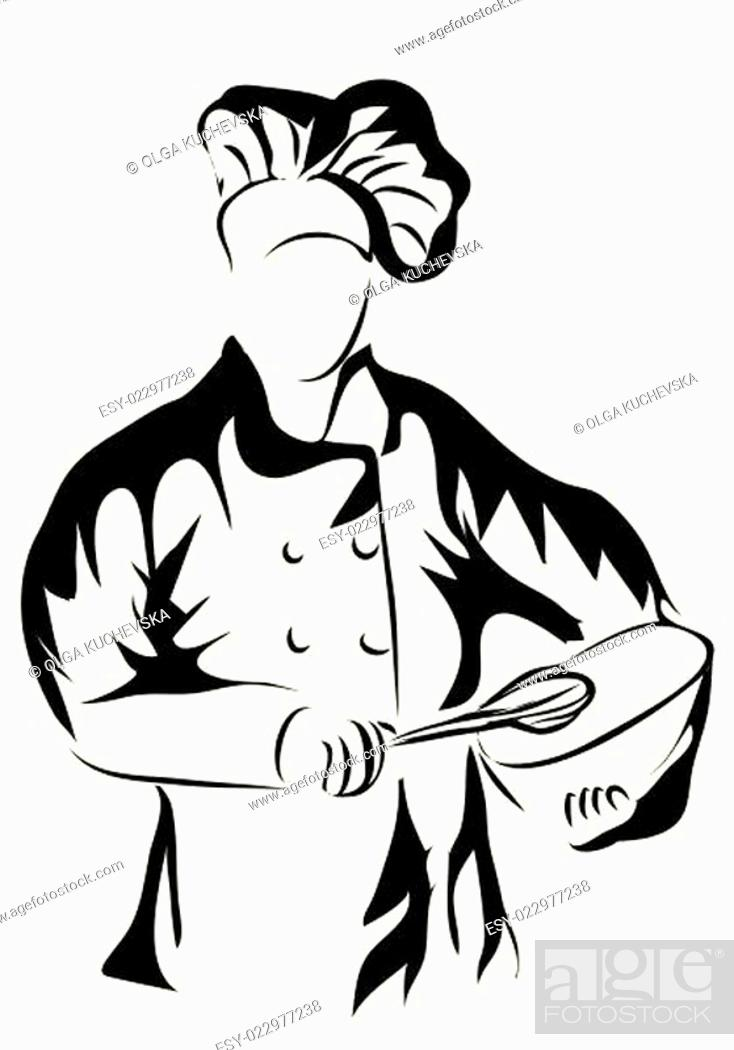 Stock Vector: chef holding a bowl.