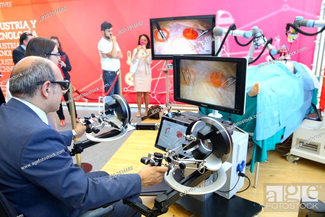 Stock Photo: Jon Darpon, Minister of Health of the Basque Government, Development of a surgical robot with 3D vision and tactile sensations.