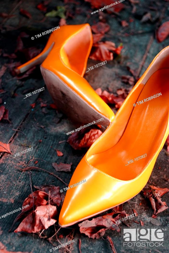 Stock Photo: Orange high heel shoes discarded on rustic leaf strewn floor.