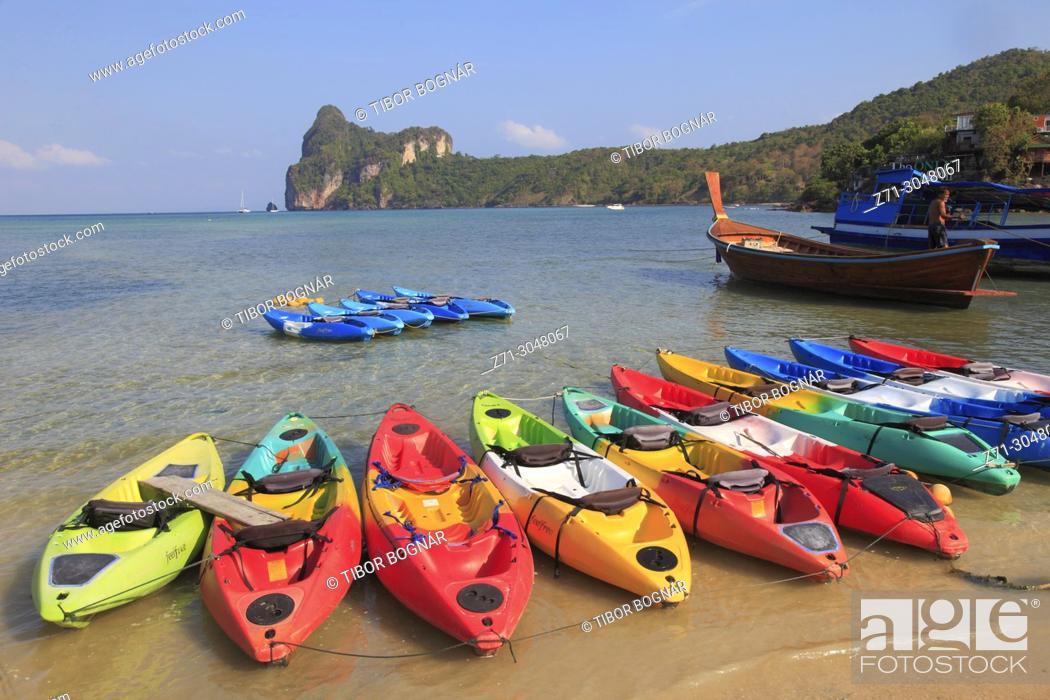 Stock Photo: Thailand, Krabi, Phi Phi Don Island, landscape, scenery, kayaks, .