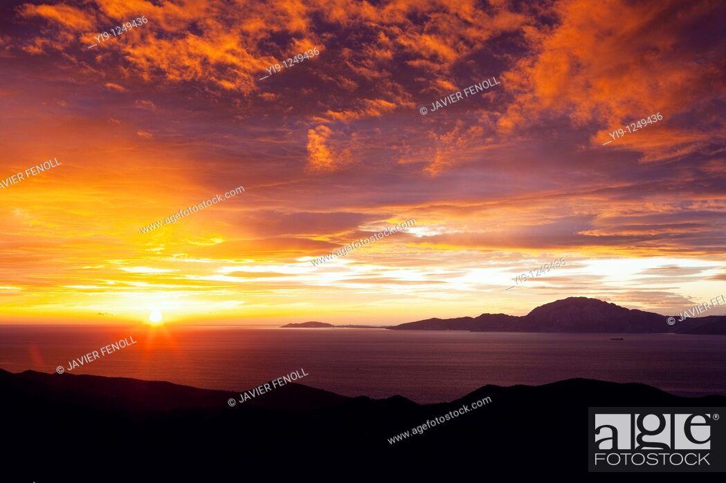 Stock Photo: Sunrise over the Strait of Gibraltar.